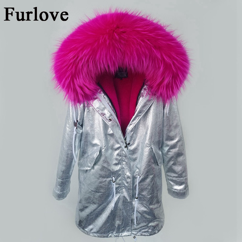 2017 New winter jacket women parka real raccoon fur collar hooded parkas long warm coats silver thick fur coat womens jackets red stripe fur inside male coats winter wear keen warm elegant real raccoon fur collar cashmere fur parka