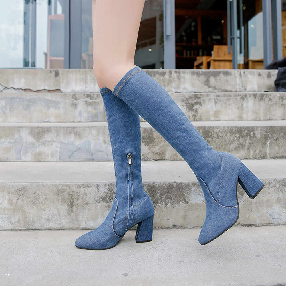 42bbef5ca59c Detail Feedback Questions about ankle boots for Women Women Denim Over The Knee  Boots Zipper Sexy Hoof Heels Women Shoes Winter Warm #NFA on Aliexpress.com  ...