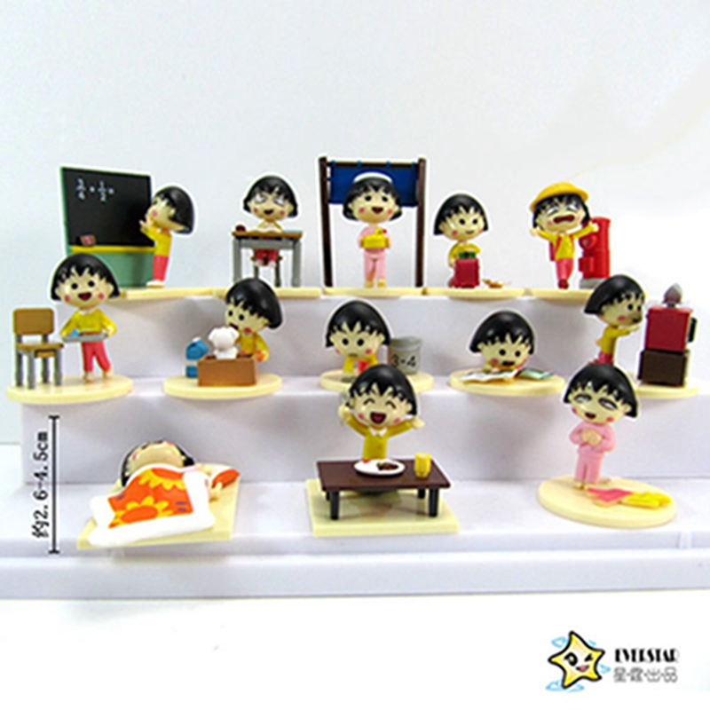 13pcs/lot Japanese Anime Cartoon Chibi Maruko Chan PVC Action Figure Sakura Momoko Happy Day Figure Toys Dolls for Gift 24pcs lot chibi maruko chan figures 3 5cm pvc collection chibi maruko chan toys action figure