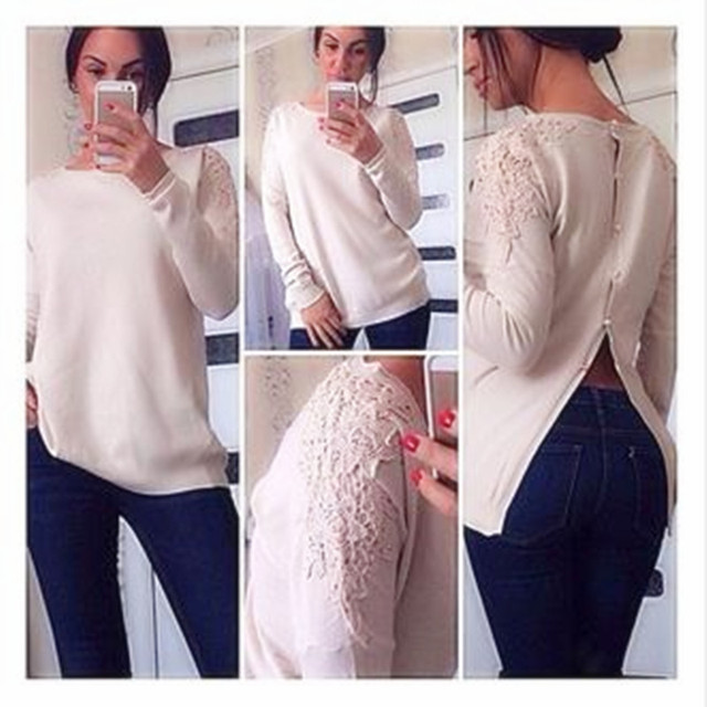 Top Sale Spring Autumn Fashion Womens Long Sleeve Lace Patchwork Casual Pullover Ladies Sweaters Round Collar Lace Decorative