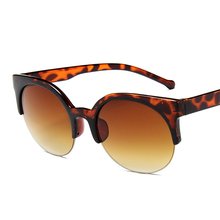 New European And American Retro Cat Eye Sunglasses Women Fashion High Quality Half Frame Hanging Silk Round