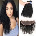 13x4 Lace Frontal With Bundles Brazilian Virgin Hair kinky curly With Closure 3 Bundles Human Hair Weaves With Lace Closure