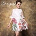 Organza floral verão mulheres dress mandarim collar meia manga bordado branco/bule/vermelho das senhoras flores vestidos puls tamanho m-5xl