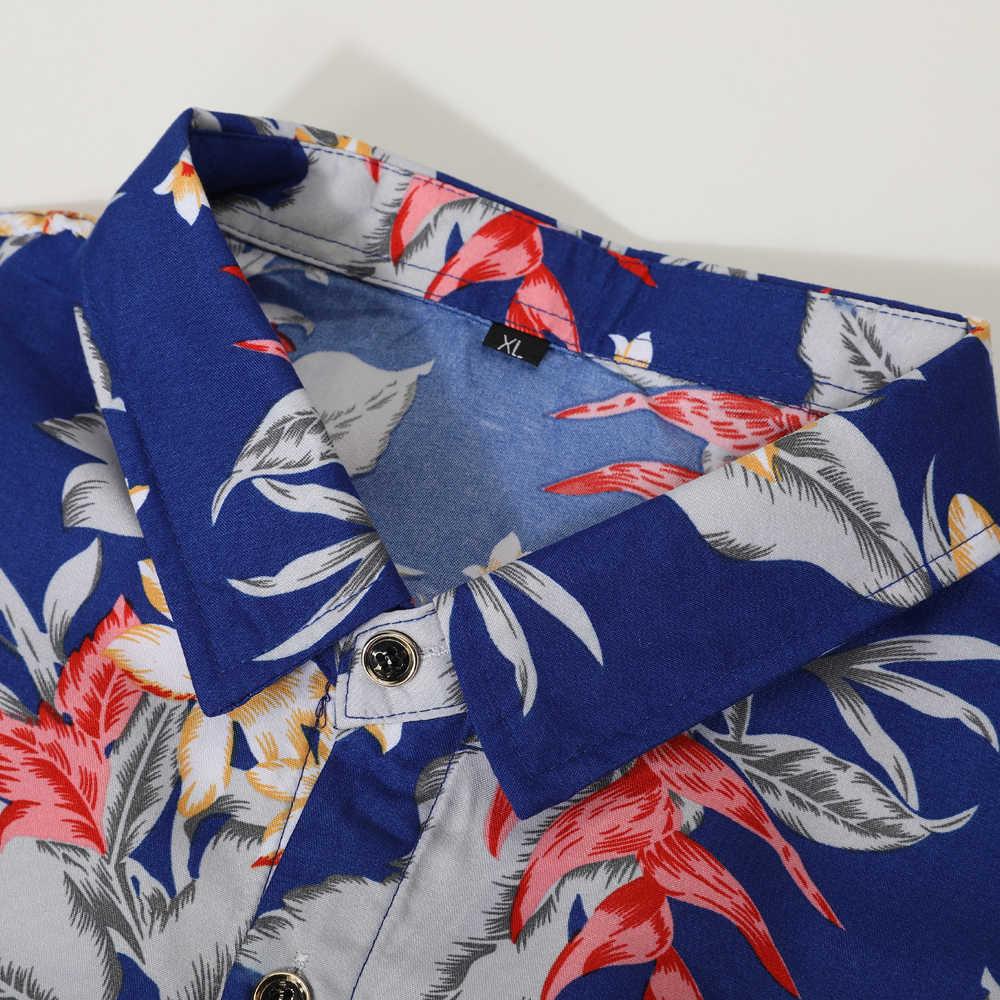 Мужская одежда 2019 Осенняя Новая мужская повседневная рубашка модная гавайская рубашка с длинными рукавами с цветочным принтом Мужская одежда больших размеров 5XL 6XL 7XL
