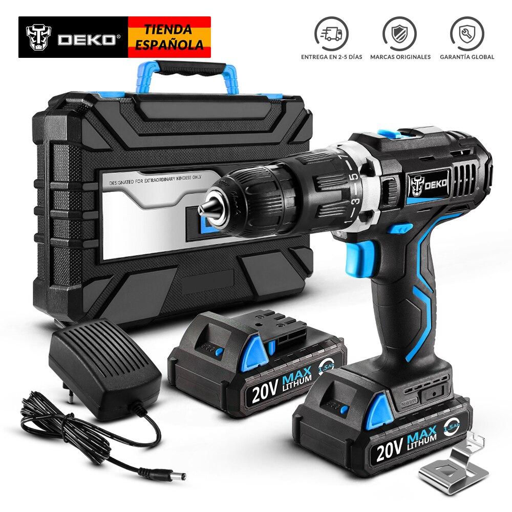 DEKO GCD20DU3 20- Volt   DIY  Carpintería Herramientas   Baterías De Ión Litio  Controlador LED  Taladro Inalambrico Profesional