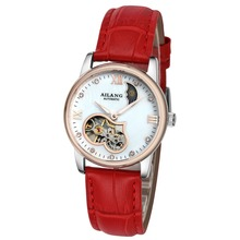 New Fashion Casual Ladies Hollow Automatic Mechanical Watches Luxury Tourbillon Leather Womens Watch Wristwatches Reloj Mujer
