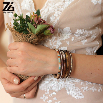 ZG Fashion Women Leather Bracelet Rhinestone Bar Charm Bohemian Leather Female Bracelets in 7 Colors 5