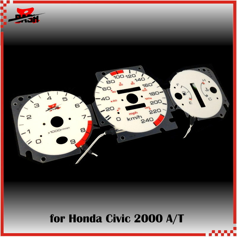 1996-2000 Honda Civic EX SI White Face Glow Through Gauges Blue Auto Trans AT