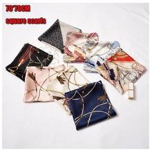 70X70CM NEW designer printed silk scarf for women elegant fashion ladies neck imitated foulard shawls Headwear