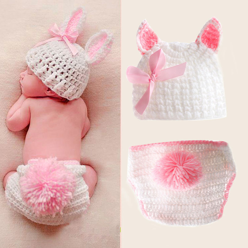 1Set Newborn Boys Girls Cute Crochet Knit Costume Baby Photo Photography Outfits Prop