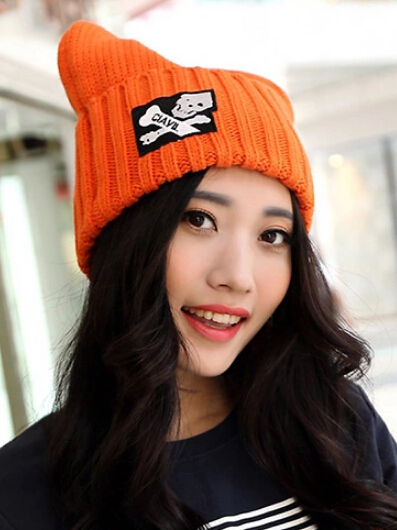Thicken cold winter warm female cap horns skull thermal lady hat high wool 8color 1pcs brand new arrive