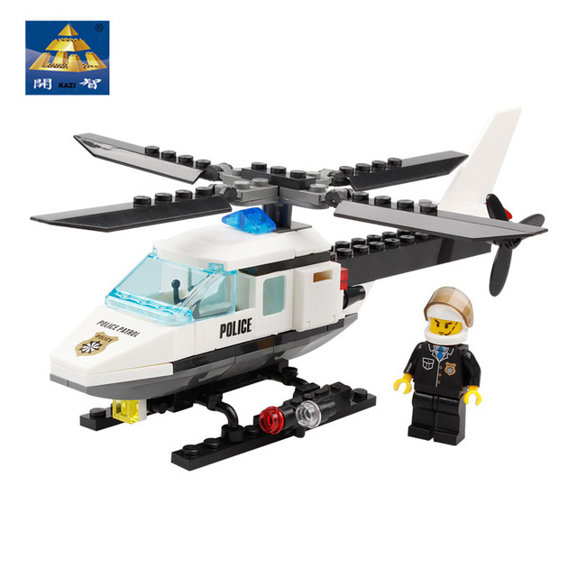 Original Box Kazi Blocks Police Series Montessori Educational Toy Aircraft & Driver New Style Moveable Toys For Children
