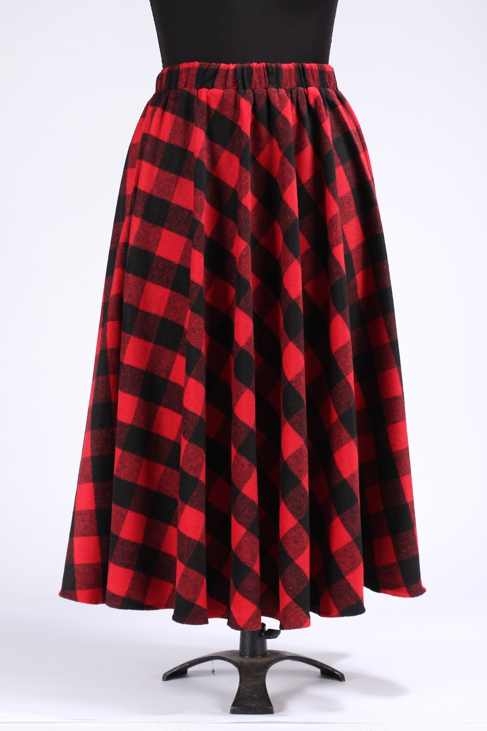 Winter Red Black Plaid Skirts Womens Autumn Size 5xl 6xl 7xl Line Wool Ankle Length Maxi