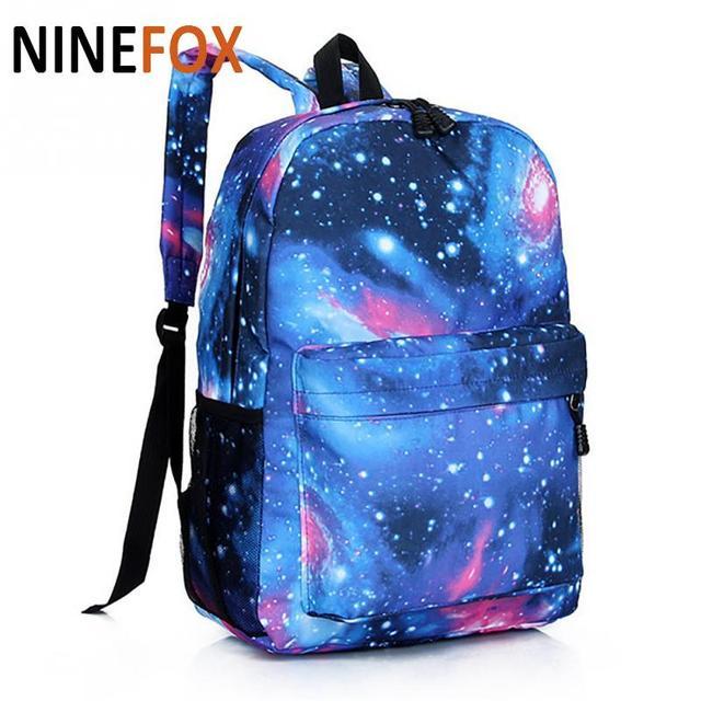 e695ffbde9dd Supreme многоцветный женский холщовый рюкзак стильный Звездный Вселенная  космический рюкзак для девочек Школьный рюкзак Mochila Feminina
