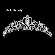 ¡Novedad! Tiara Vintage para graduación de princesa, corona de cristal para boda y Tiara, diadema para novias, accesorios de decoración para el cabello, joyería