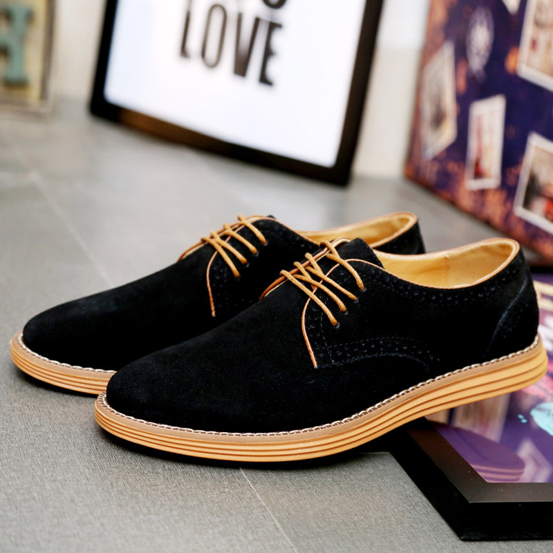 2016 New Plus Size Men Shose Fashion Suede Leather Shoes Casual Shoes Low Lace UP Flat Men's Shoes Zapatos Hombre Black 38-47