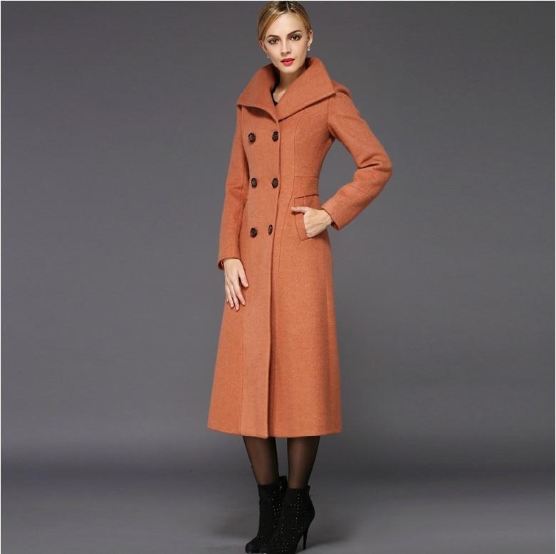 2017 New fashion women's wool long coat turn down collar elegant ...