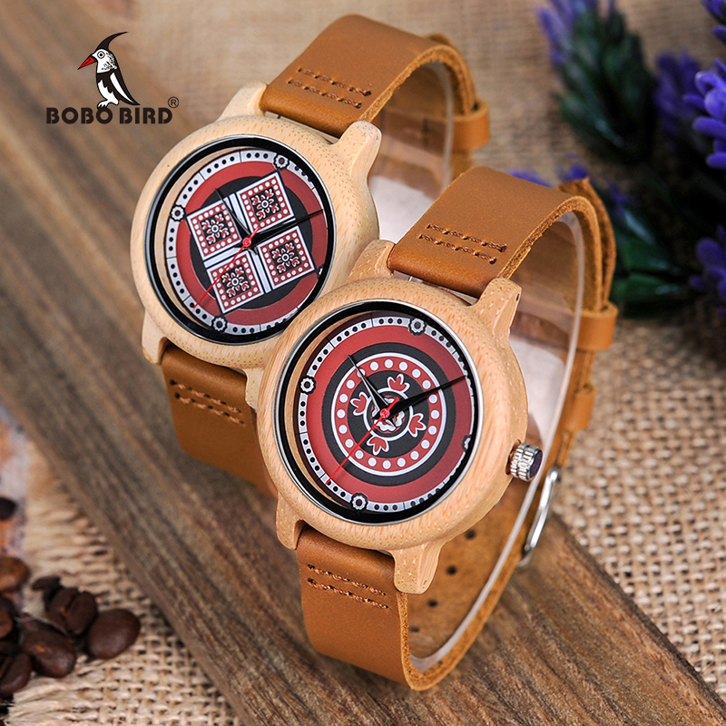 BOBO BIRD L-J19 Ladies Color Print Dial Face Female Bamboo Quartz Watches Free Shipping Gifts For Women Wood Watch