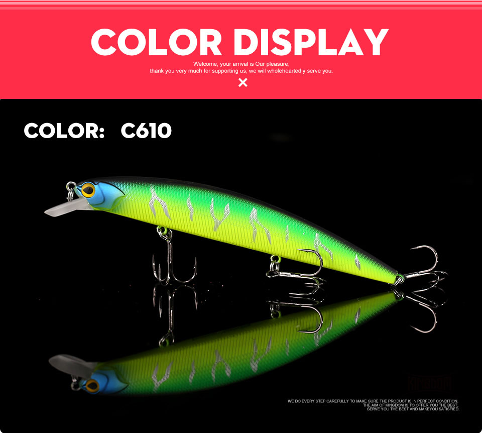 _08Kingdom 130mm20g Fishing Lure Jerkbait Floating Minnow Decoy Fishing Tackle Wobblers Strong Hook For Sea Water Model 3523