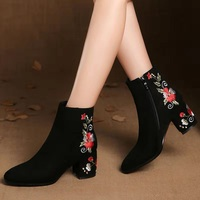 A BUYBEA Boots Women Embroidered High Ankle Shoes Boots Black Flock Round Toe Zipper Red Flower Shoes Ladies Short Plush Boots