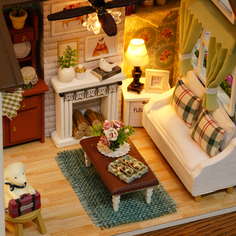 DIY Dollhouse Miniature Doll House 3D Model Building Kits Wooden Furniture  Toys Creative Birthday Gifts For Kids With Happy Time In Doll Houses From  Toys ...