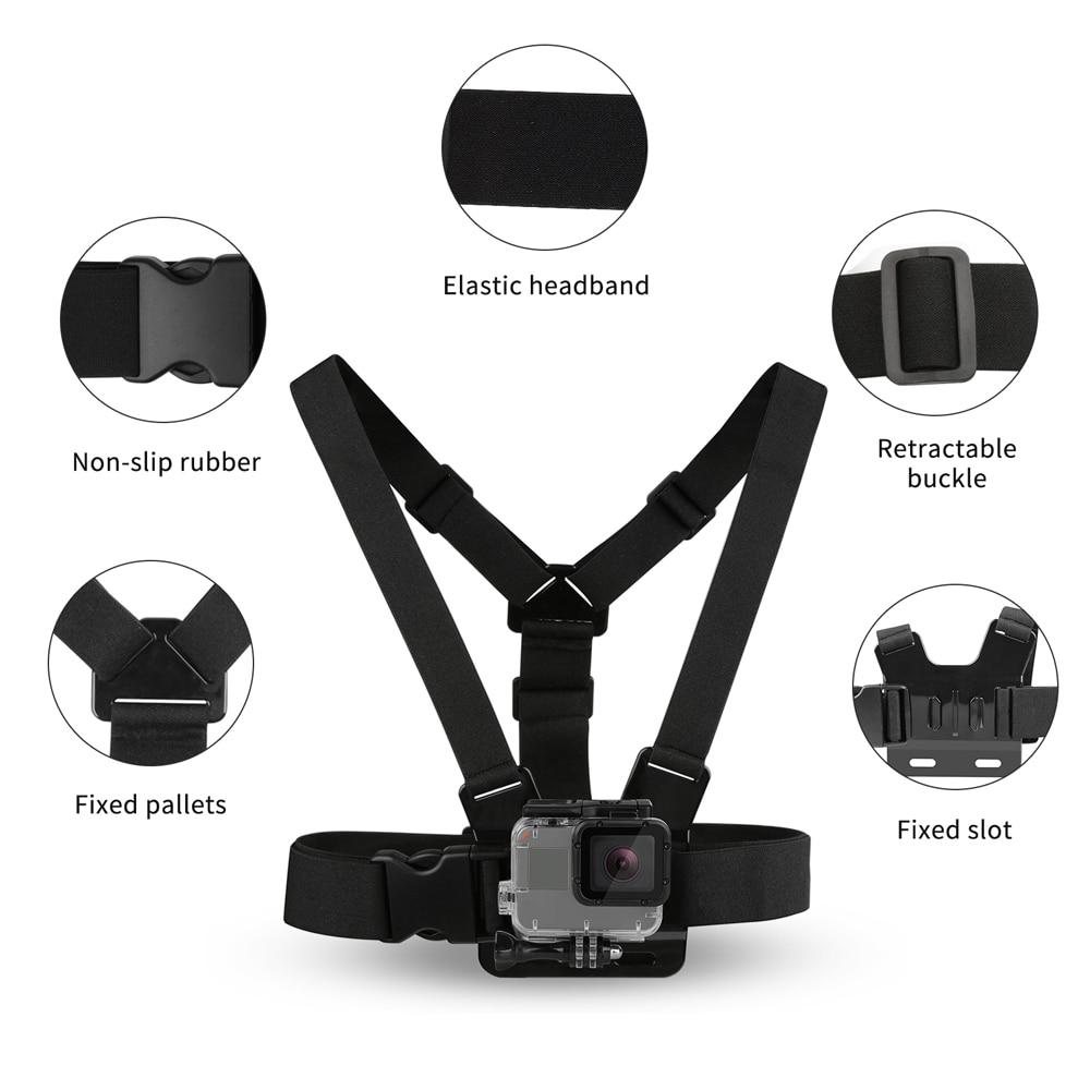 SHOOT Adjustable Harness Chest Strap Head Strap Belt for GoPro Hero 9 8 7 5 Black Xiaomi Yi 4K Sjcam Sj4000 Go Pro 7 8 Accessory 3