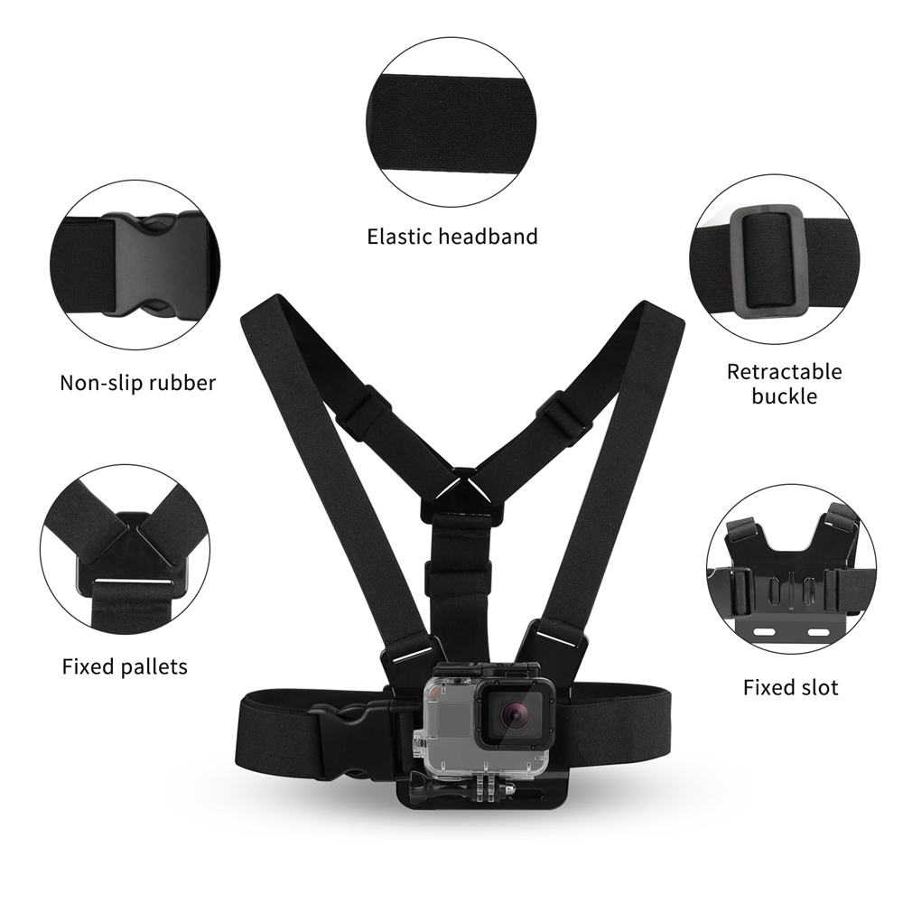 SHOOT Adjustable Harness Chest Strap Head Strap Belt for GoPro Hero 9 8 7 5 Black Xiaomi Yi 4K Sjcam Sj4000 Go Pro 7 8 Accessory-2