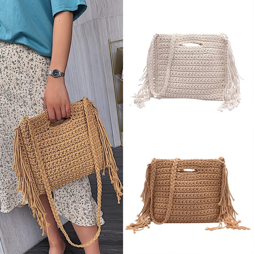 New Straw Bag 2019 Women Hand-Woven Hollow Handbag Moon Shape Rattan Bag Big Capacity Drawstring Handbag Casual Travel Beach Bag(China)