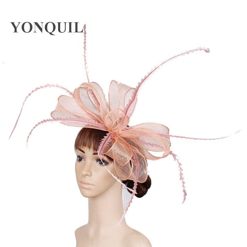 Элегантные головные уборы sinamay, Свадебные шляпы для невесты, высококачественные Коктейльные головные уборы, вечерние головные уборы, несколько цветов - Цвет: Шампанское