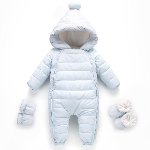 2bdcddd2feb0 Newborn Baby Winter Rompers Down Jumpsuit Side zipper Kids Clothing ...