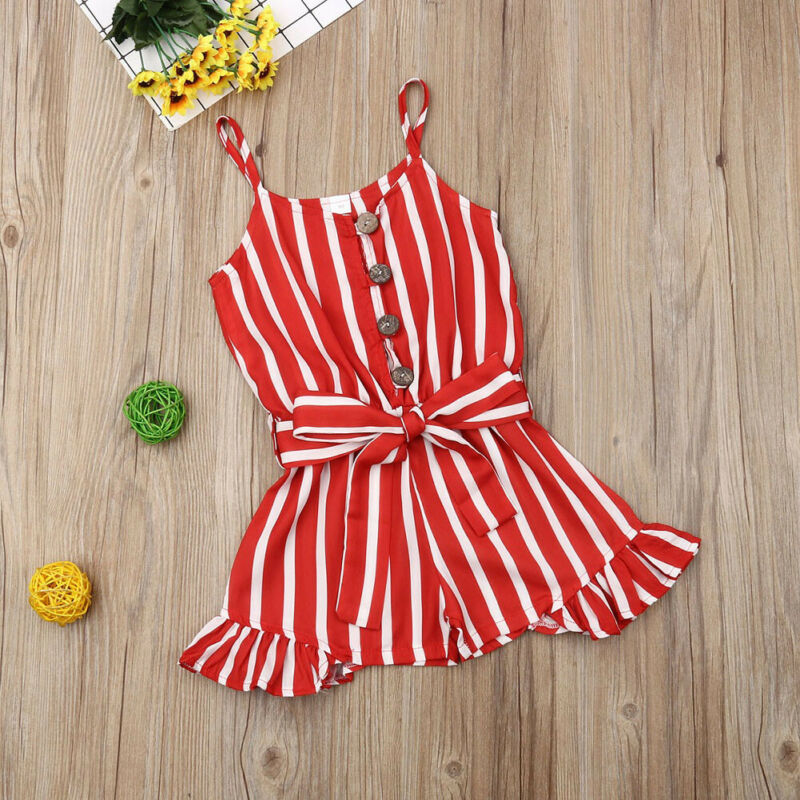 019 Summer Toddler Kids Baby Girls Clothes Strap Striped Red Romper Summer Chiffon Strap Outfit 3 8Y in Clothing Sets from Mother Kids