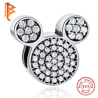 BELAWANG 2017 Christmas Gift Mickey Charm Beads Fit Original Pandora Charms Bracelets Cute Pave CZ Bead