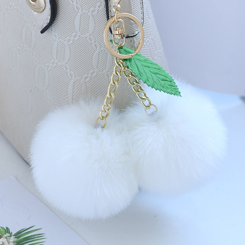 Fluffy 8cm Faux Rabbit Fur Ball Pompom Gold Chain Cherry Key Ring - Bisutería - foto 3