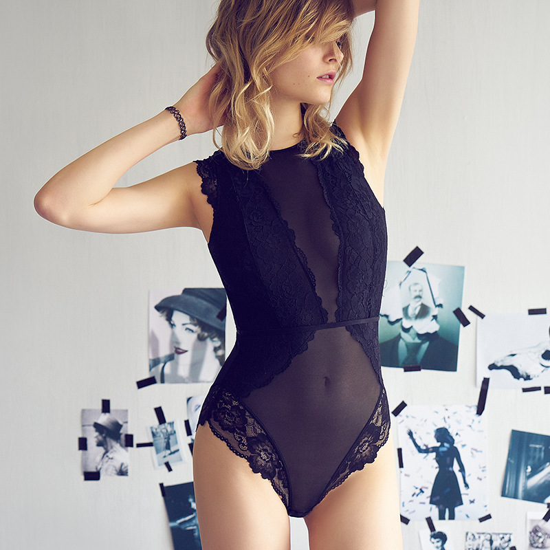 Lace Bodysuit Hollowout Back Women Lingerie Transparent Underwear Femme Bottom Closure Jumpsuits High Quality