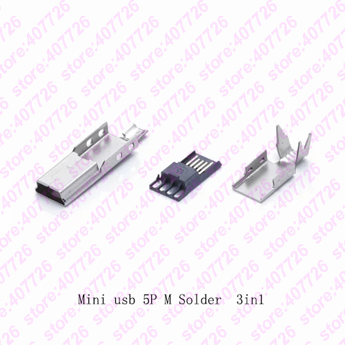 10Sets Mini USB Male Connector (3 IN 1 )Male Mini USB Jack 2.0 5PIN Plug Socket With Iron Cover For Kinds Of DIY Soldering