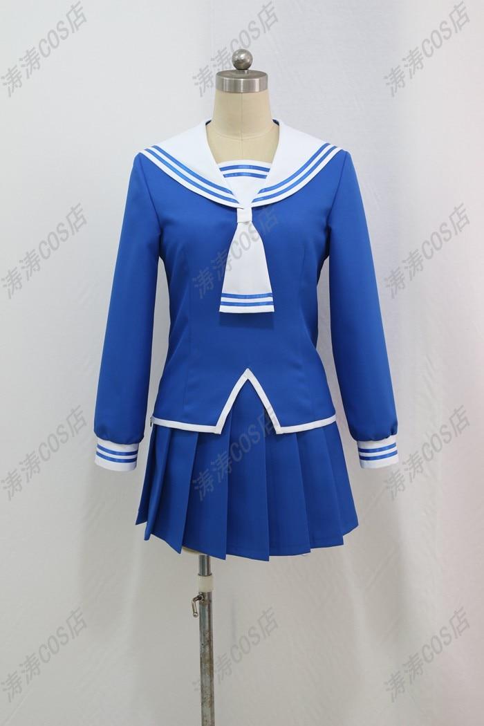 Anime Fruits Basket Honda Tooru Blue School Uniform Cosplay Costume For Women top skirt necktie Free