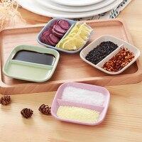 1pcs Double Grid Sauce Dish Versatile Dish Sauce Vinegar Tableware Restaurant Kitchen Supplies|Dishes & Plates| |  -