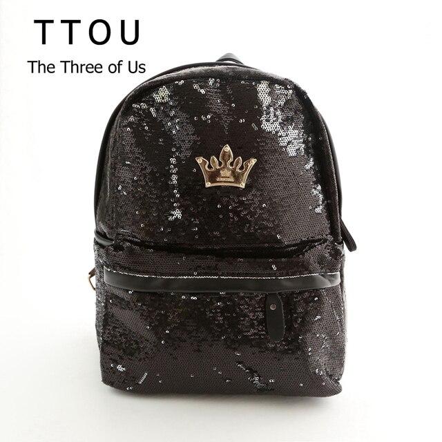 TTOU Women's Colorful Crown Canvas Backpacks Girl Lady Student School Travel Bags Mochila escolar Women Bag Paillette Bling Bag