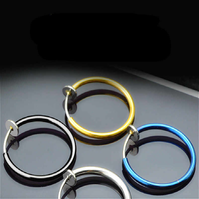 Fashion 2 Pcs Clip on Body Jewelry Nose Lip Ear Fake Piercing Rings Stud Punk Goth False Hoop Earrings Septum Jewelry