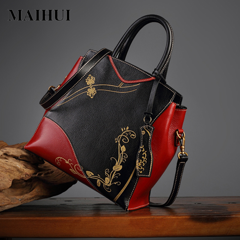 MAIHUI women leather handbags high quality real genuine leather shoulder bags 2017 new chinese style ladies embossing tote bag women leather handbags high quality real cow genuine leather bags new fashion chinese style floral shoulder bag casual tote bag
