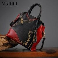 Maihui женские кожаные сумки высокого качества реальные натуральная кожа сумки на плечо Новинка 2017 китайский стиль дамы тиснение сумка