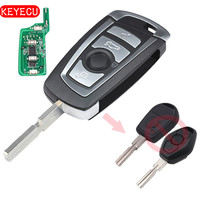 Keyecu EWS Modified Flip Remote Key 4 Button 315MHz 433MHz PCF7935AA ID44 Chip For BMW E38