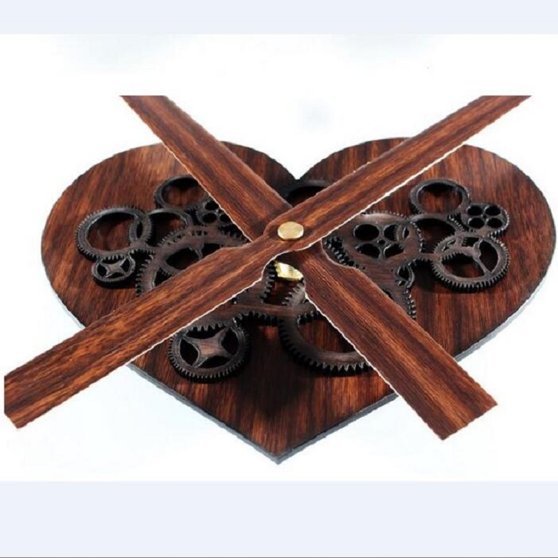 Us 13 66 35 Off Clock Mechanism Watch Reloj Wall Clock Kit Big Wood Heart Shaped Gear Clock Movement Diy Kit Retro Wooden Watches And 30cm Kits In