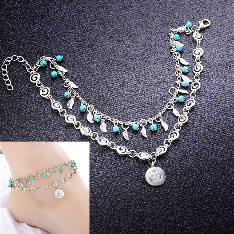 Vintage Bohemia Style Leaf Flower Multilayer Anklet  Spiral Style Round Pendant  Leg Ankle Anklet Charms Bracelet Beach Jewelry