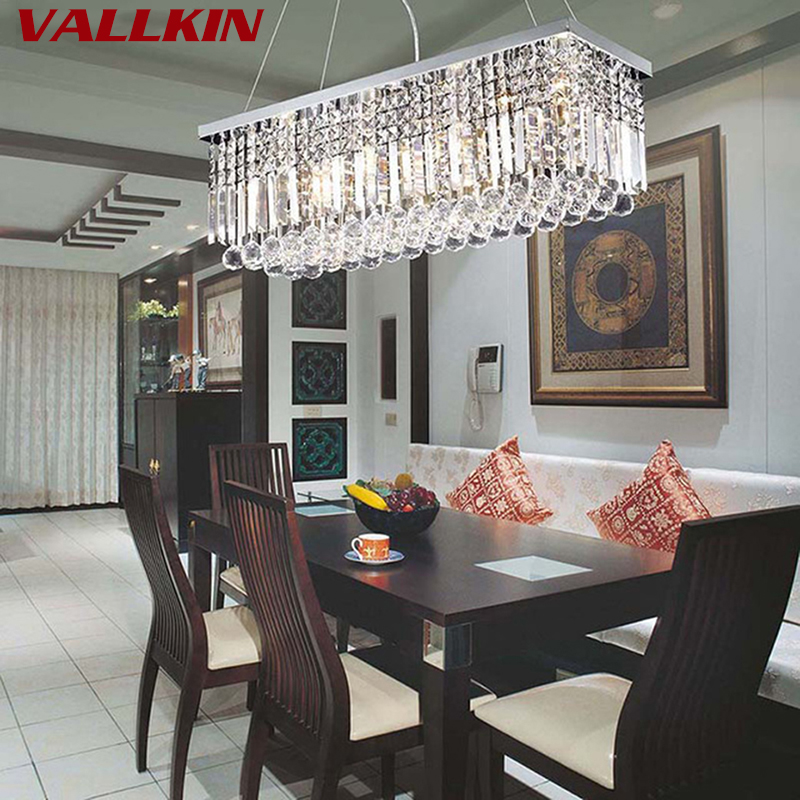 Modern Crystal Chandeliers Rectangular LED Pendant Lamp Indoor Art Deco Lamps Lighting Fixtures for Dining Living Room Hotel modern crystal chandeliers home lighting decoration led pendant lamp ring hanging lamps indoor fixtures with remote control