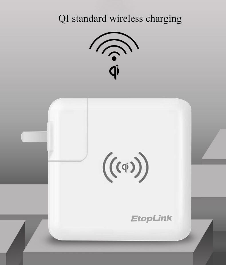 EtopLink Wireless Charger Mobile Smart Phones power supply USB Type C Qi Travel wall 3 in 1 Fast Charger For iPhone For Samsung