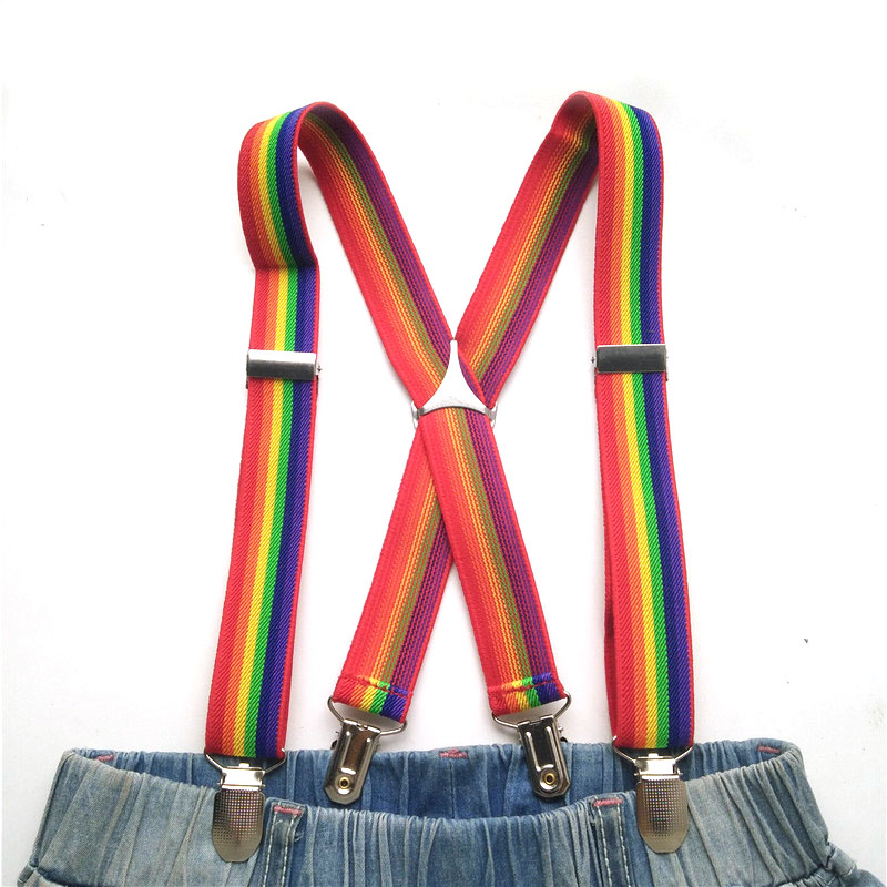 Baby Rainbow Suspenders High Quality Metal Triangle Cross Adjustable Suspender Keep Girls Skirt Boys Pants Kids Braces BD012