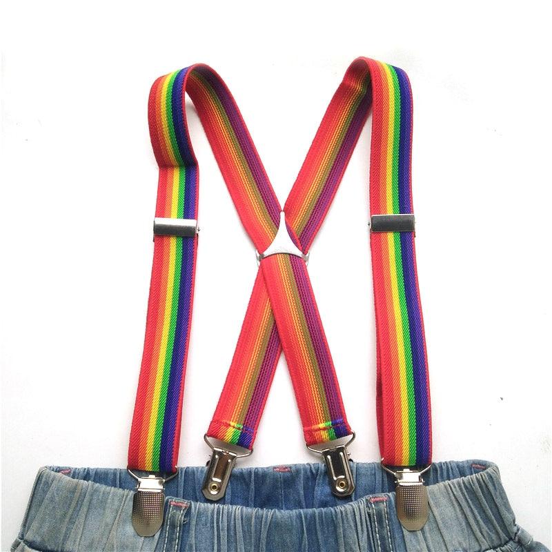 Baby Rainbow Suspenders High Quality Metal Triangle Cross Adjustable Suspender Keep Girls Skirt Boys Pants Kids Braces BD012