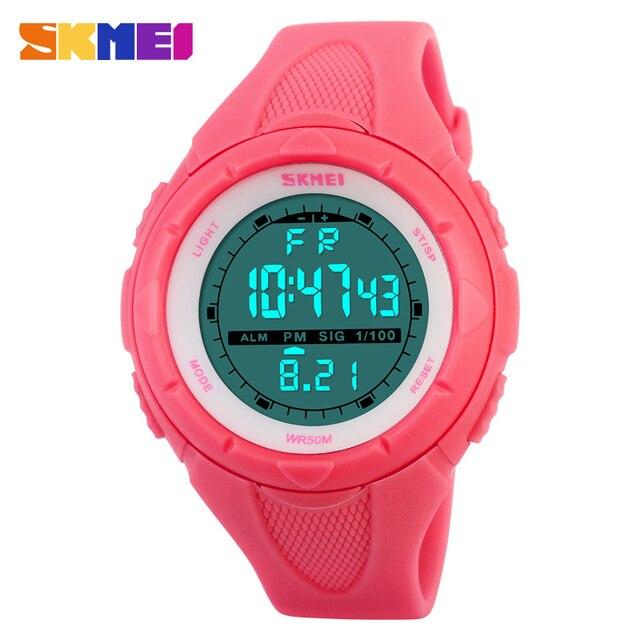 SKMEI Марка Мода Повседневное Для женщин часы Водонепроницаемый светодиодный цифровой Спортивные часы для Обувь для мальчиков девочка спорт на открытом воздухе Наручные часы