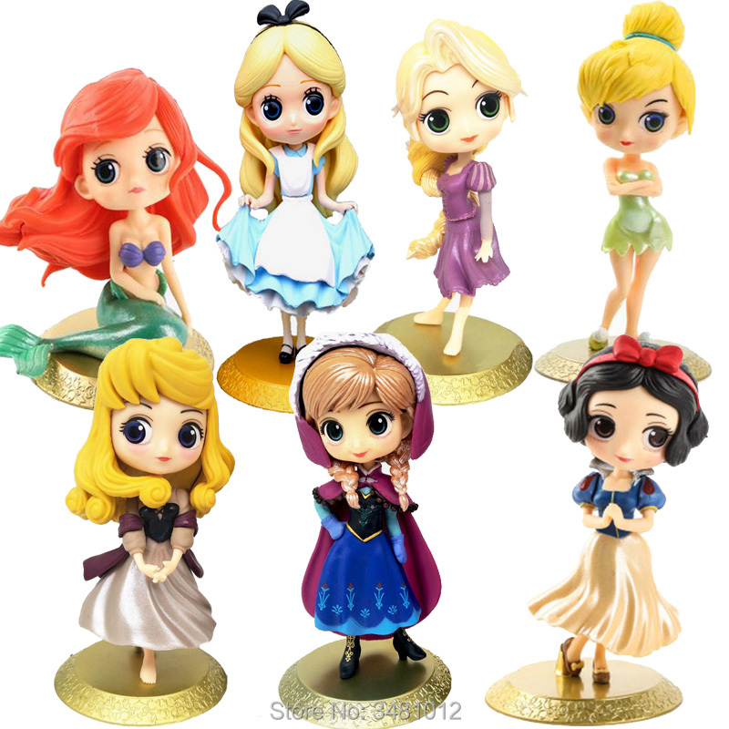 Sleeping Beauty Anna Alice Mermaid Model Snow White Q Posket Princess PVC Action Figures Rapunzel TinkerBell Dolls Figurines